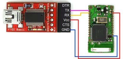 Connecting the USB-Serial converter to the Bluetooth module