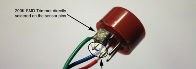 The MQ-3 sensor with a shortcircuit between A and H pins and the 200K trimmer