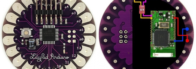 A Lilypad with a Sparkfun SMD module and the connection diagram